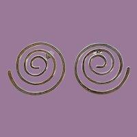Vintage Ed Levin Sterling Modernist Spiral Earrings