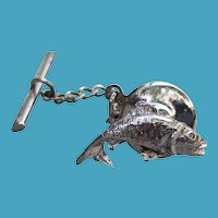 Vintage Sterling FISH Trout Bass Tie Tack PIn