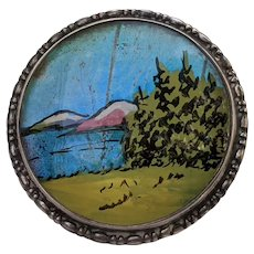 1923 Thomas L MOTT England Sterling Butterfly Wing Reverse Painted Pin