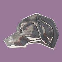 Sterling Labrador Pointer Hound DOG HEAD Studio Made Tie Tack Pin