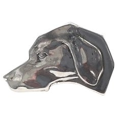 Sterling Labrador Pointer Hound DOG HEAD Studio Made Tie Tack Pin