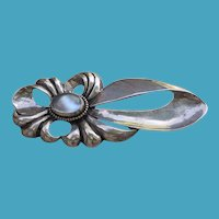 Large Art Deco Sterling MOONSTONE Pin Brooch