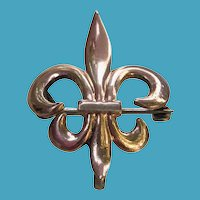 ANTIQUE Rose Gold Filled Fleur de Lis Watch Pin Holder