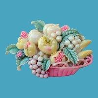 Art Deco CELLULOID Tinted Basket of 3D Fruits Pin JAPAN