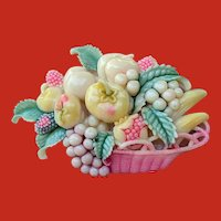 Art Deco CELLULOID Tinted Basket of 3D Fruits Pin JAPAN