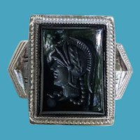 Art Deco Ostby Barton OB Sterling Intaglio ONYX Ring