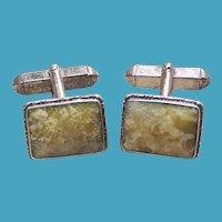 Art Deco Irish Celtic Sterling Silver CONNEMARA Marble Cufflinks