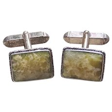 Art Deco Irish Celtic Sterling Silver CONNEMARA Marble Cufflinks