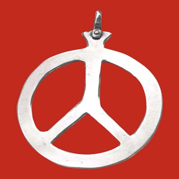 1960 Hippy Hand Crafted Sterling PEACE Sign Pendant