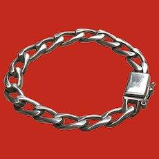 HEFTY Vintage 9 INCH Sterling Silver Link Chain Bracelet Man Mans Mens
