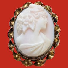 Victorian High Relief Angel Skin CORAL Carved Cameo Pin