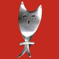 Mid Century Modernist Sterling Hoot OWL Pin