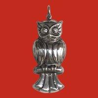 Large Vintage 3D Sterling Owl on Branch Pendant