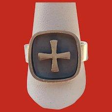 Elis Kauppi Kupittaan Kulta Finland Sterling CROSS Ring 1970