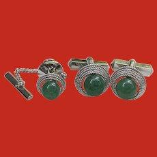 RETRO Silver Jade Jadeite Cufflinks Tie Tack Set
