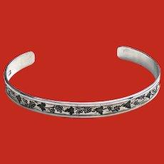 Vintage Ed Levin MODERNIST Sterling Silver Cuff Bracelet
