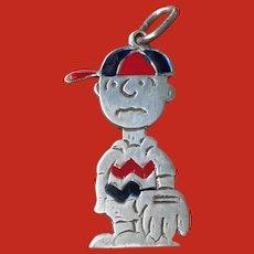 Vintage Silver Enamel CHARLIE BROWN Baseball Peanuts Pendant
