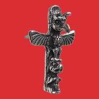 Sterling Northwest Coast Indian TOTEM POLE Tie Tack Pin