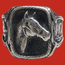 HEFTY 1940 Cowboy Western Sterling HORSE HEAD Ring