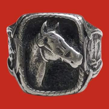 HEFTY 1940 Cowboy Western Sterling HORSE HEAD Ring