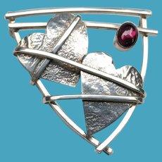 Artist Signed Modernist Silver 2 HEART Pin Pendant