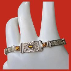 Art Deco Sterling Filigree Bracelet Topaz Jewels