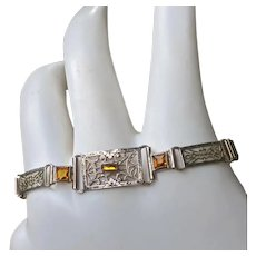 Art Deco Sterling Filigree Bracelet Topaz Jewels