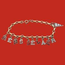 Vintage Red White Enamel RENSSELAER RPI University Bracelet