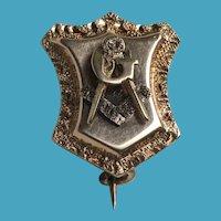19th Century Victorian Rose Gold MASONIC Pin for Mason