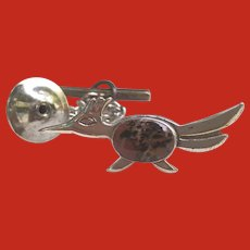 Native American Sterling ROADRUNNER Agate Tie Tack Pin Bell Trading Post