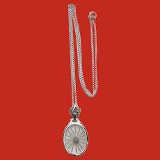 Art Deco 14K White Gold Diamond Camphor Glass Necklace