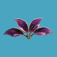 David Andersen Norway Sterling Guilloche Enamel 4 Leaf Pin PURPLE