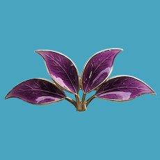 David Andersen Norway Sterling Guilloche Enamel 4 Leaf Pin PURPLE