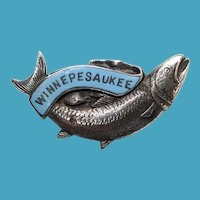 C.1920 Fish Souvenir Pin Enamel Lake Winnepesaukee NH