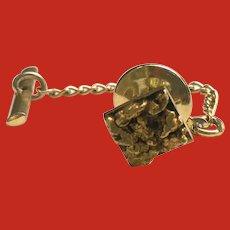 22K Karat Gold Mined Nugget Tie Tack Pin