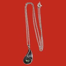 Modernist Sterling ELLA  CONE Pendant Necklace The Silversmith