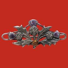 Antique Sterling Enamel CHARLES HORNER Thistle Pin 1904