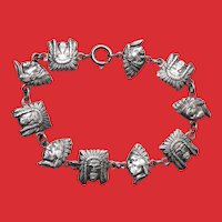 Industria Argentina 800 Silver INDIAN CHIEF Heads Bracelet