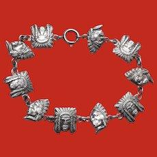 Industria Argentina 800 Silver INDIAN CHIEF Heads Bracelet