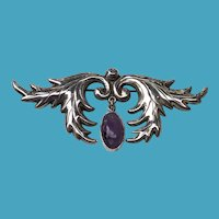 Large 1940 ANTONIO PINEDA 980 Silver Amethyst Pin Brooch