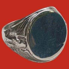 Patriotic Art Deco Sterling Bates Klinke EAGLE Signet Ring
