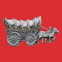 BEAU Sterling Conestoga Covered Wagon Pin