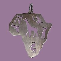 Modernist Silver AFRICA Pendant with Cut Out Giraffe