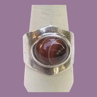 1975 Artist Signed Striped Agate Silver Modernist Ring LONDON