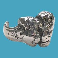 RARE 800 Silver Brutalist Lovers HEADS Ring OOAK