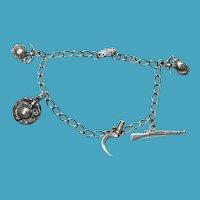 Sterling WWII Marines Sweetheart 5 Charm Bracelet