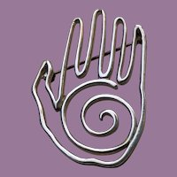 COOL Modernist Sterling Wire HAND Pin