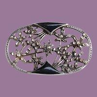 Art Deco Sterling Black Enamel Floral Flowers Pin