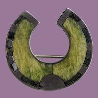 Victorian Sterling Ireland Connemara Marble Onyx Lucky HORSESHOE Pin