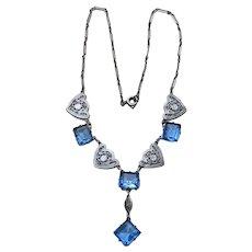 Art Deco Aqua Glass Rhodium Filigree Necklace HEARTS